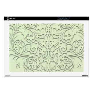 "HeartyChic Lime Green linen Damask Heart Skin For 17"" Laptop"