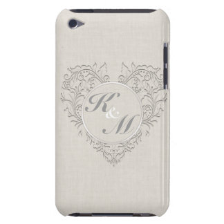 HeartyChic Natural linen Damask Heart Case-Mate iPod Touch Case