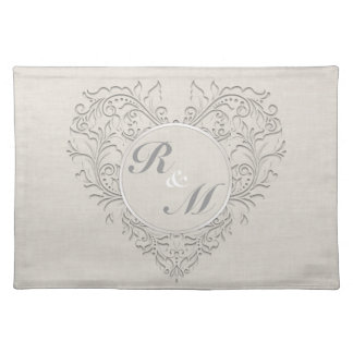 HeartyChic Natural Linen Damask Heart Cloth Placemat