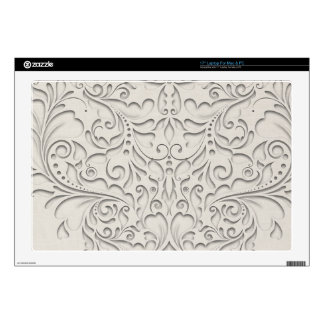 HeartyChic Natural linen Damask Heart Decals For Laptops