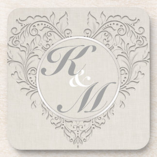 HeartyChic Natural Linen Damask Heart Drink Coaster
