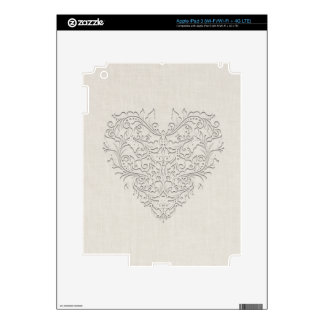 HeartyChic Natural linen Damask Heart iPad 3 Decals