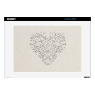HeartyChic Natural linen Damask Heart Laptop Decal