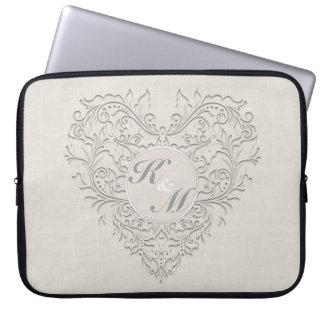 HeartyChic Natural linen Damask Heart Laptop Sleeve