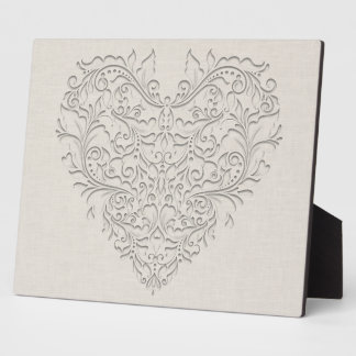 HeartyChic Natural Linen Damask Heart Plaque