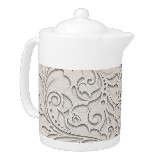 HeartyChic Natural Linen Damask Heart Teapot