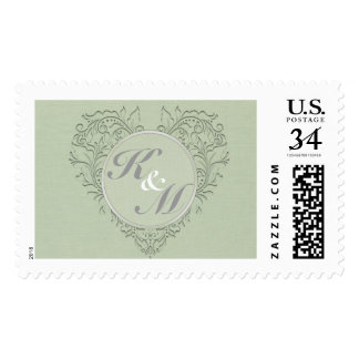 HeartyChic Sage Green Damask Heart Stamp