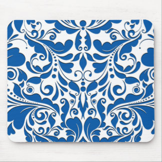 HeartyParty Blue And White Damask Heart Mouse Pad