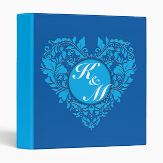 HeartyParty Cobalt Blue And Turquoise Damask Heart Binder