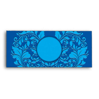 HeartyParty Cobalt Blue And Turquoise Damask Heart Envelope