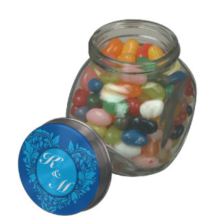 HeartyParty Cobalt Blue And Turquoise Damask Heart Glass Candy Jars