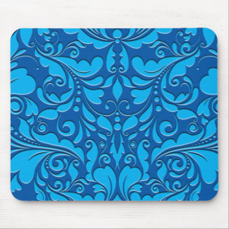 HeartyParty Cobalt Blue And Turquoise Damask Heart Mouse Pad