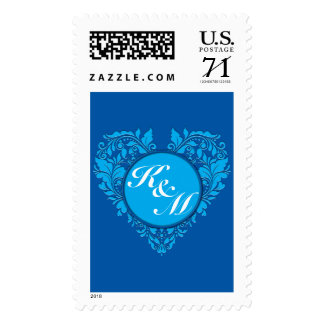 HeartyParty Cobalt Blue And Turquoise Damask Heart Postage