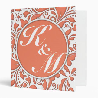 HeartyParty Coral And White Damask Heart 3 Ring Binder
