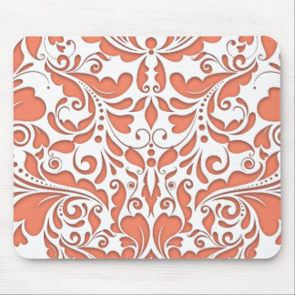 HeartyParty Coral And White Damask Heart Mouse Pad