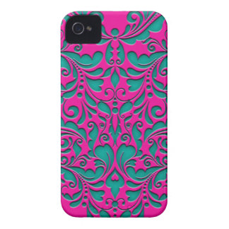 HeartyParty Magenta And Teel Damask Heart Case-Mate iPhone 4 Case
