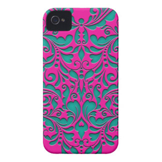 HeartyParty Magenta And Teel Damask Heart iPhone 4 Case-Mate Case