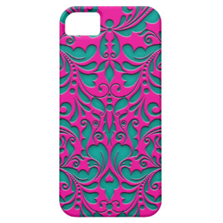 HeartyParty Magenta And Teel Damask Heart iPhone SE/5/5s Case