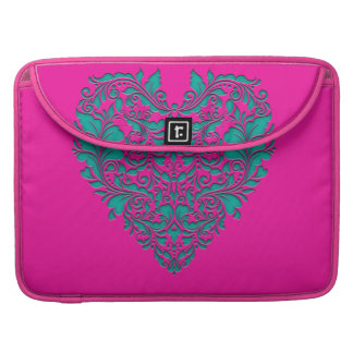 HeartyParty Magenta And Teel Damask Heart MacBook Pro Sleeve