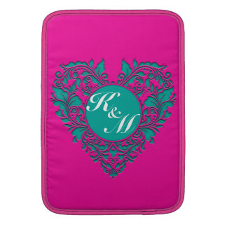 HeartyParty Magenta And Teel Damask Heart MacBook Sleeves