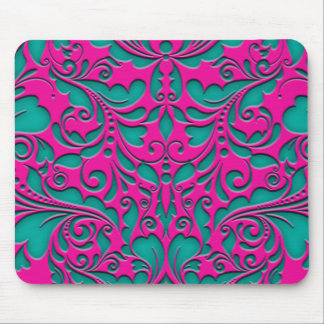 HeartyParty Magenta And Teel Damask Heart Mouse Pad