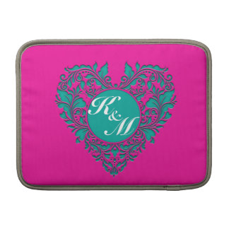 HeartyParty Magenta And Teel Damask Heart Sleeve For MacBook Air