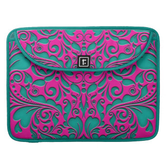 HeartyParty Magenta And Teel Damask Heart Sleeves For MacBooks