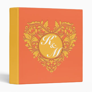HeartyParty Orange and Yellow Damask Heart Binder