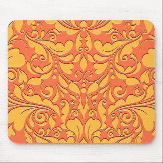 HeartyParty Orange and Yellow Damask Heart Mouse Pad
