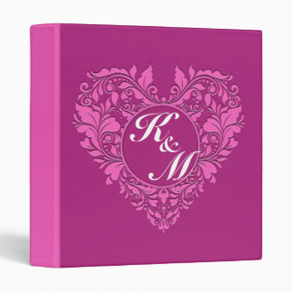 HeartyParty Pink And Cherry Damask Heart 3 Ring Binder
