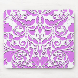 HeartyParty Pink And White Damask Heart Mouse Pad