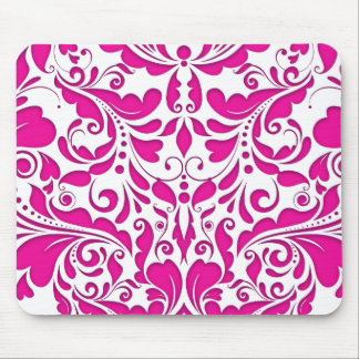 HeartyParty Pink Magenta And White Damask Heart Mouse Pad
