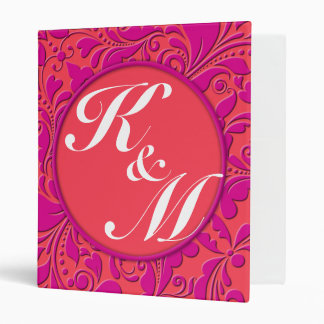 HeartyParty Raspberry and Magenta Damask Heart 3 Ring Binder