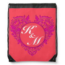 HeartyParty Raspberry and Magenta Damask Heart Drawstring Backpack