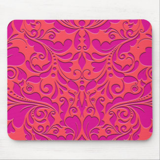 HeartyParty Raspberry and Magenta Damask Heart Mouse Pad