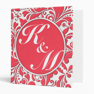 HeartyParty Raspberry Red And White Damask Heart Binder