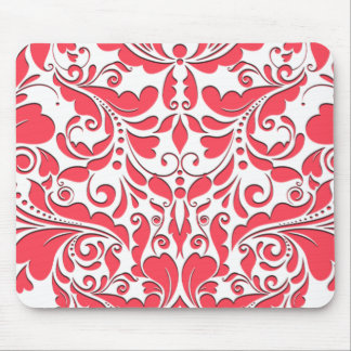 HeartyParty Raspberry Red And White Damask Heart Mouse Pad