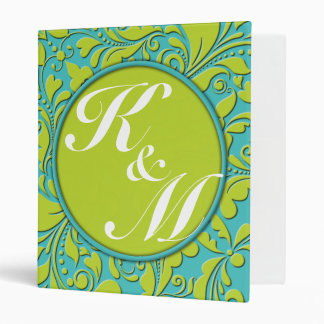 HeartyParty Turquoise and Lime Damask Heart Binder