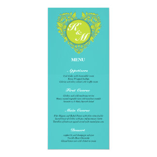 HeartyParty Turquoise and Lime Damask Heart Card