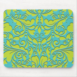 HeartyParty Turquoise and Lime Damask Heart Mouse Pad