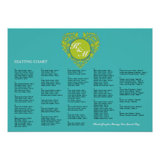 HeartyParty Turquoise and Lime Damask Heart Poster