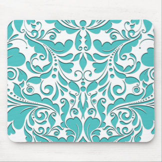 HeartyParty Turquoise blue And White Damask Heart Mouse Pad