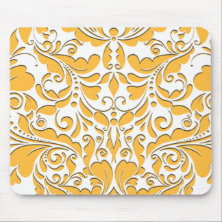 HeartyParty Yellow And White Damask Heart Mouse Pad