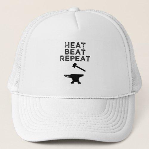 Heat Beat Repeat Funny Blacksmithing Trucker Hat
