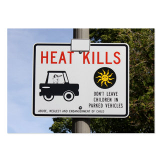 HEAT KILLS - Don't leave children in parked cars Large Business Cards (Pack Of 100)