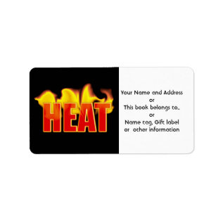 Heat With Burning Flames Name Gift Tag Bookplate at Zazzle