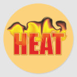 Heat With Burning Flames Name Gift Tag Bookplate Classic Round Sticker