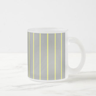 Heather and Canary Pinstripe Frosted Glass Coffee Mug