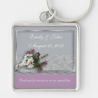 Heather and Lace wedding favor Keychain