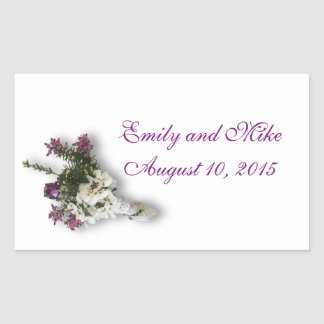 Heather and Lace Wedding favor stickers
